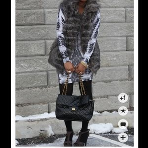 Zara Gray Faux Fur Vest